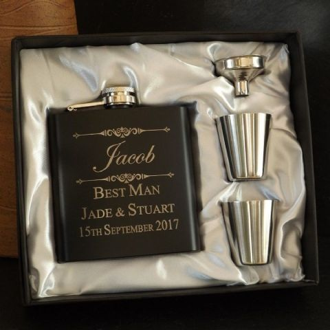 Personalised 6oz Matt Black Hip Flask Gift Set Father of the Bride Gift